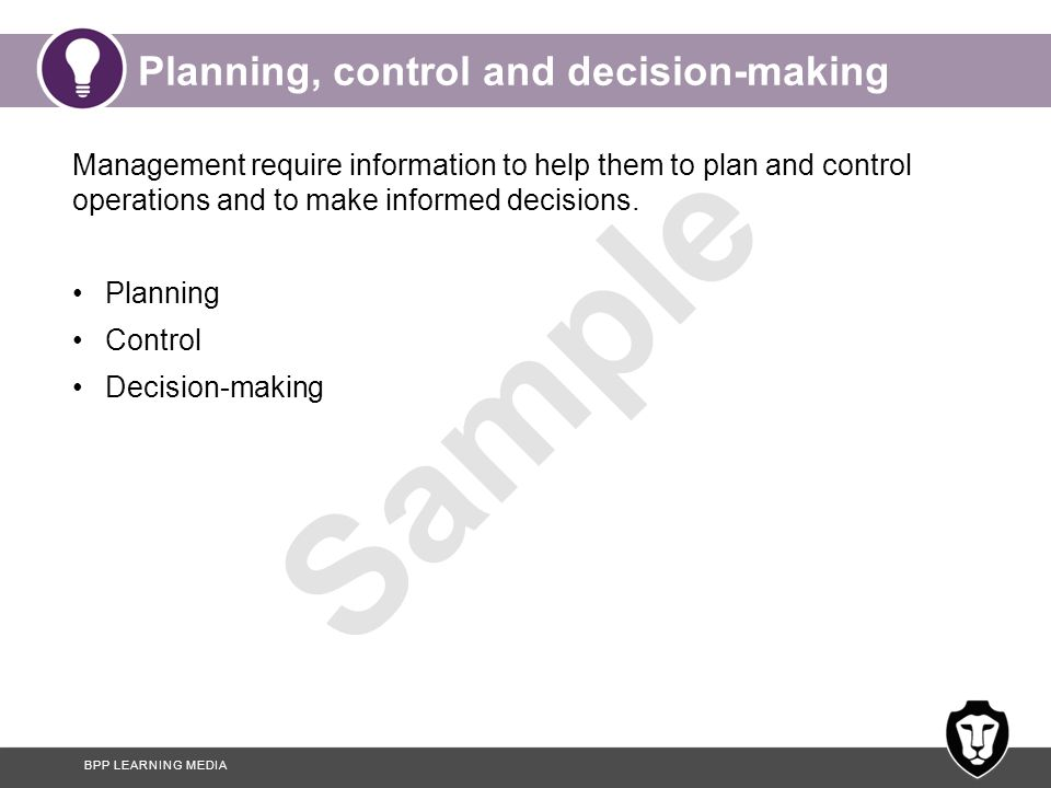 Planning, control and decision-making