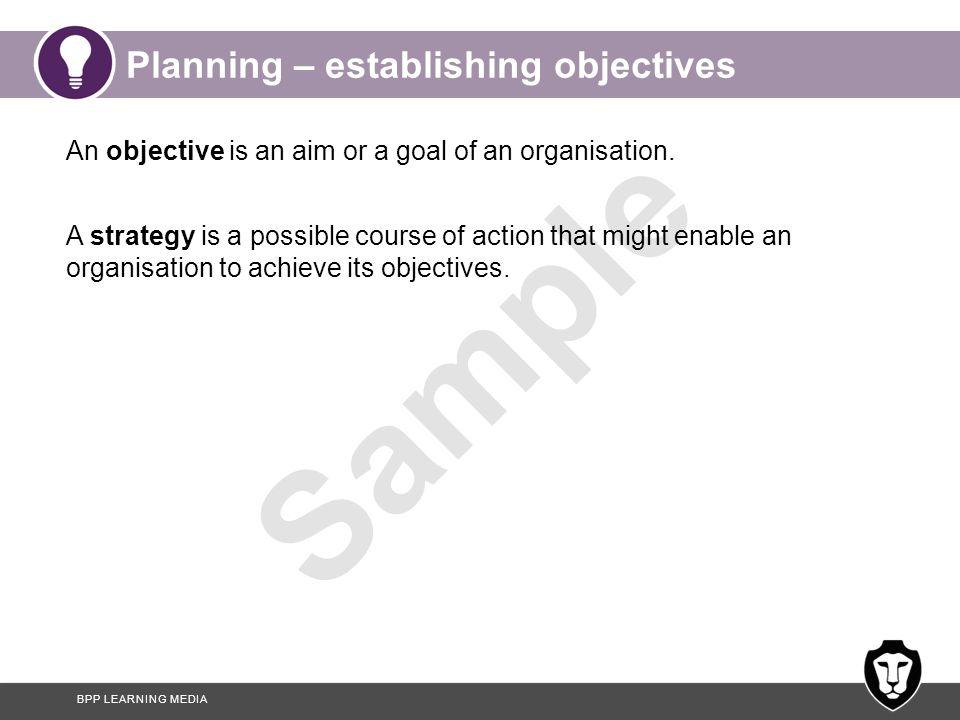 Planning – establishing objectives
