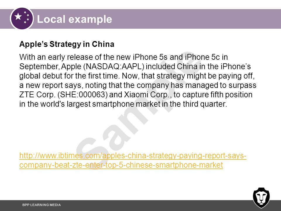 Local example Apple's Strategy in China