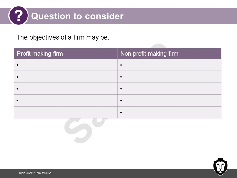 Question to consider The objectives of a firm may be: