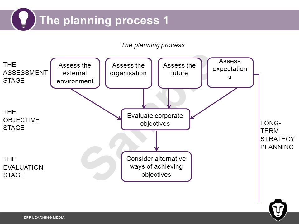 The planning process 1 The planning process THE ASSESSMENT STAGE