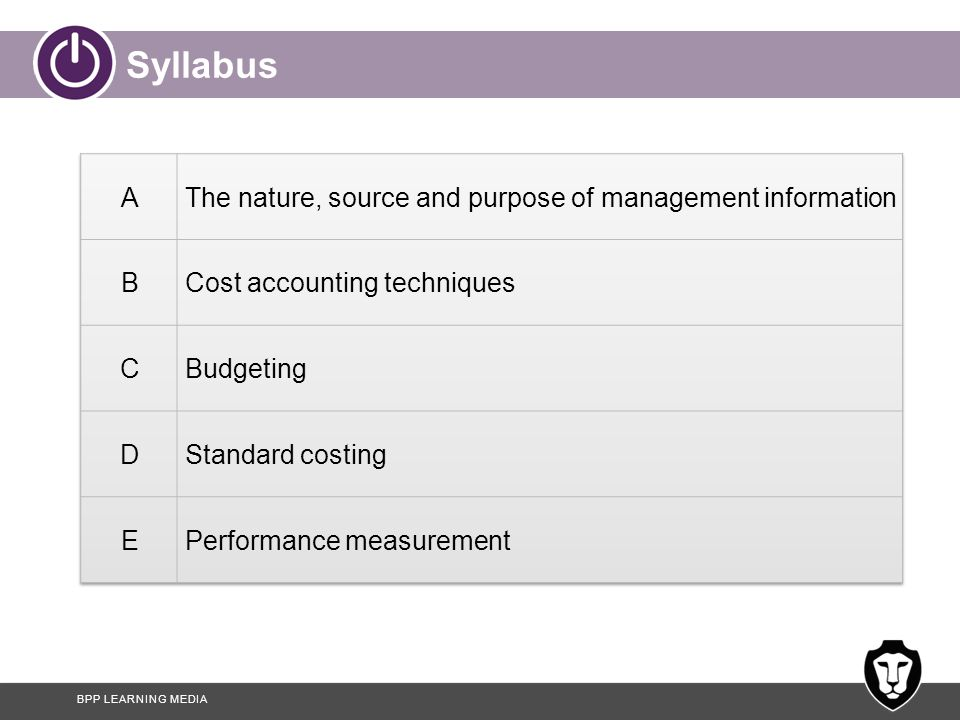 Syllabus A The nature, source and purpose of management information B