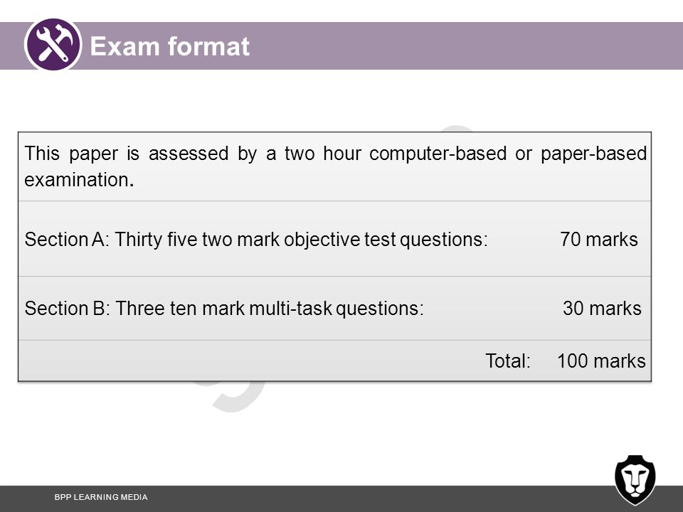 Exam format This paper is assessed by a two hour computer-based or paper-based examination.