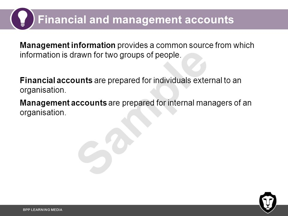 Financial and management accounts