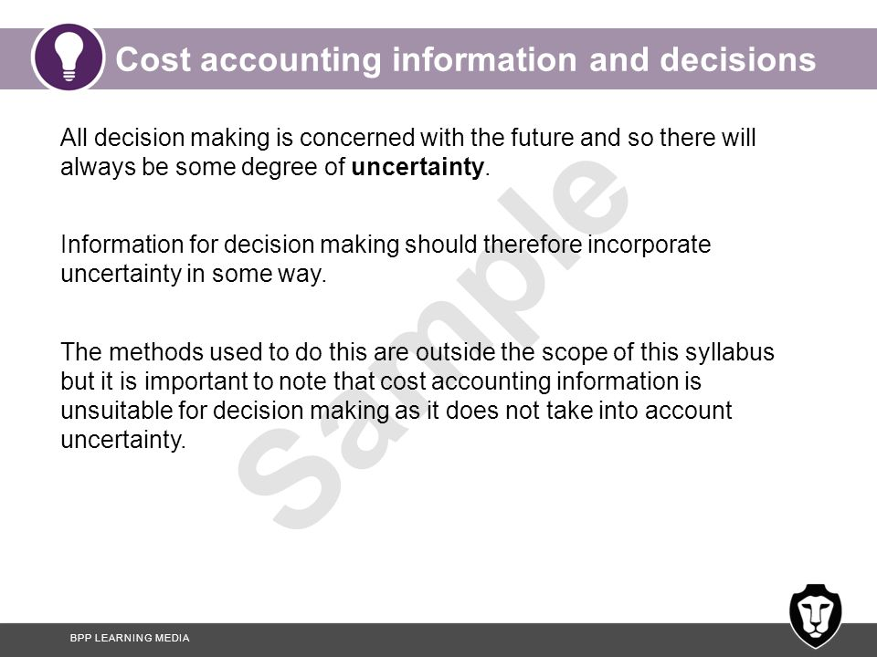 decision making cost accounting Managerial decision making is a process of making choices  in making these  predictions, the accountant often will use estimates of cost behavior based on.