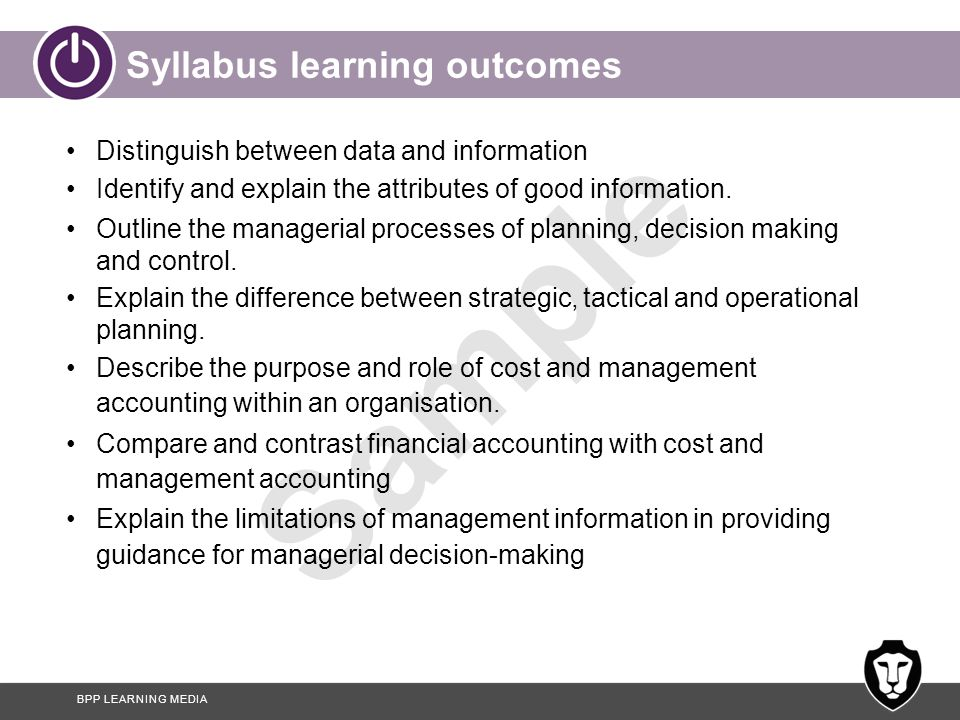 Syllabus learning outcomes
