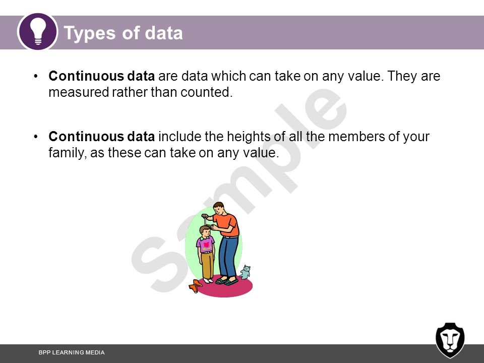 Types of data Continuous data are data which can take on any value. They are measured rather than counted.