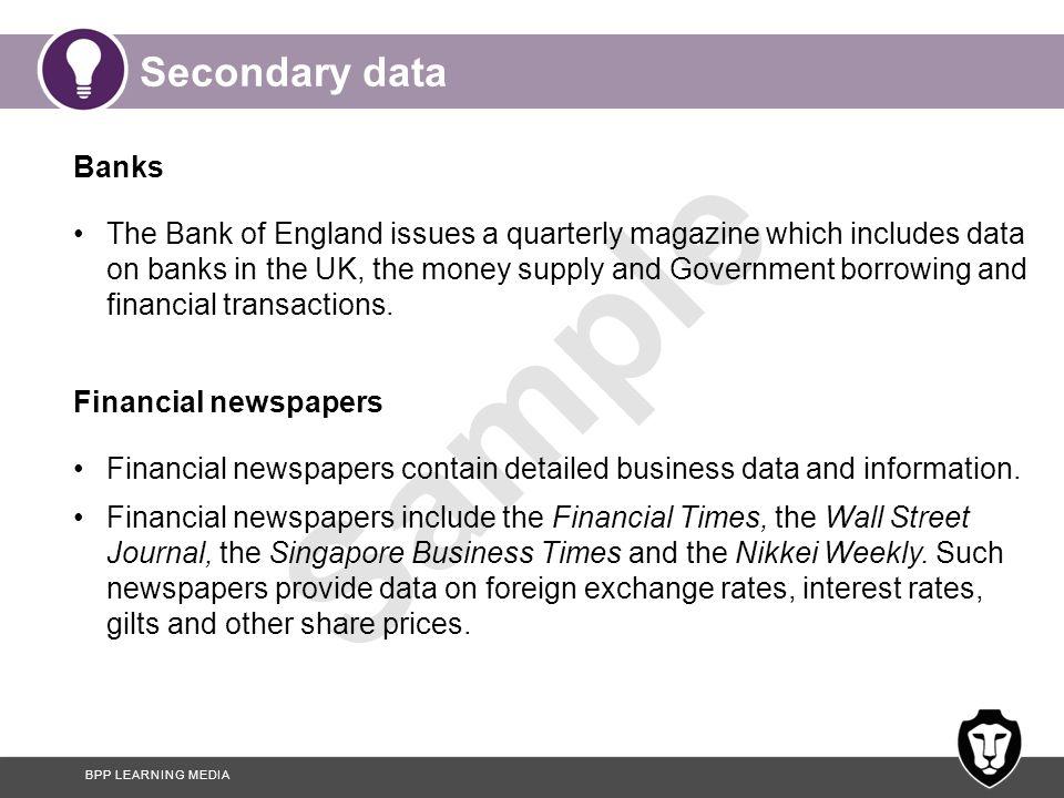 Secondary data Banks.