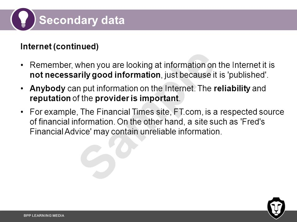 Secondary data Internet (continued)