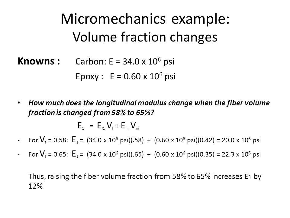 Micromechanics example: Volume fraction changes
