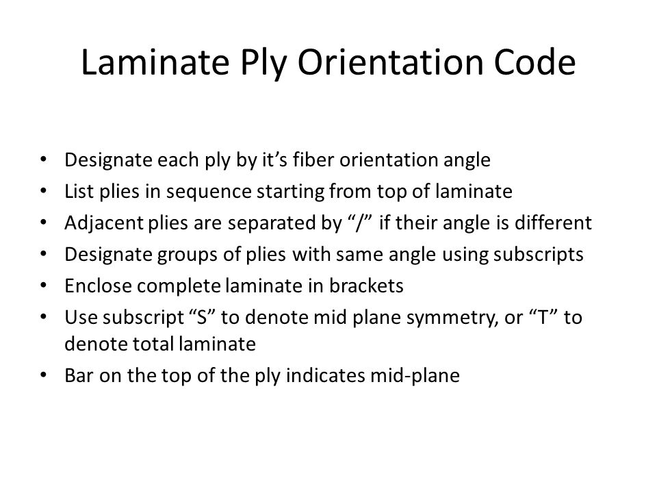Laminate Ply Orientation Code