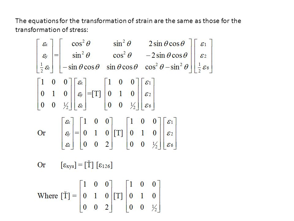 The equations for the transformation of strain are the same as those for the transformation of stress: