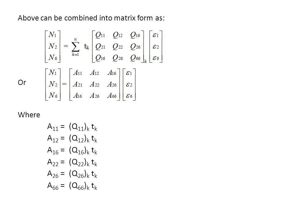 A11 = (Q11)k tk A12 = (Q12)k tk A16 = (Q16)k tk A22 = (Q22)k tk