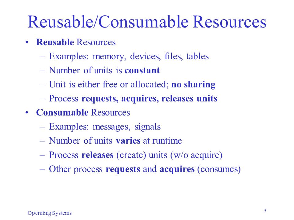 Reusable/Consumable Resources