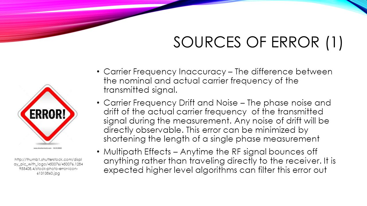 Sources of Error (1) Carrier Frequency Inaccuracy – The difference between the nominal and actual carrier frequency of the transmitted signal.