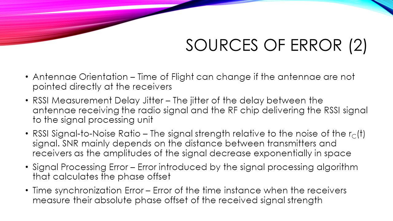 Sources of Error (2) Antennae Orientation – Time of Flight can change if the antennae are not pointed directly at the receivers.