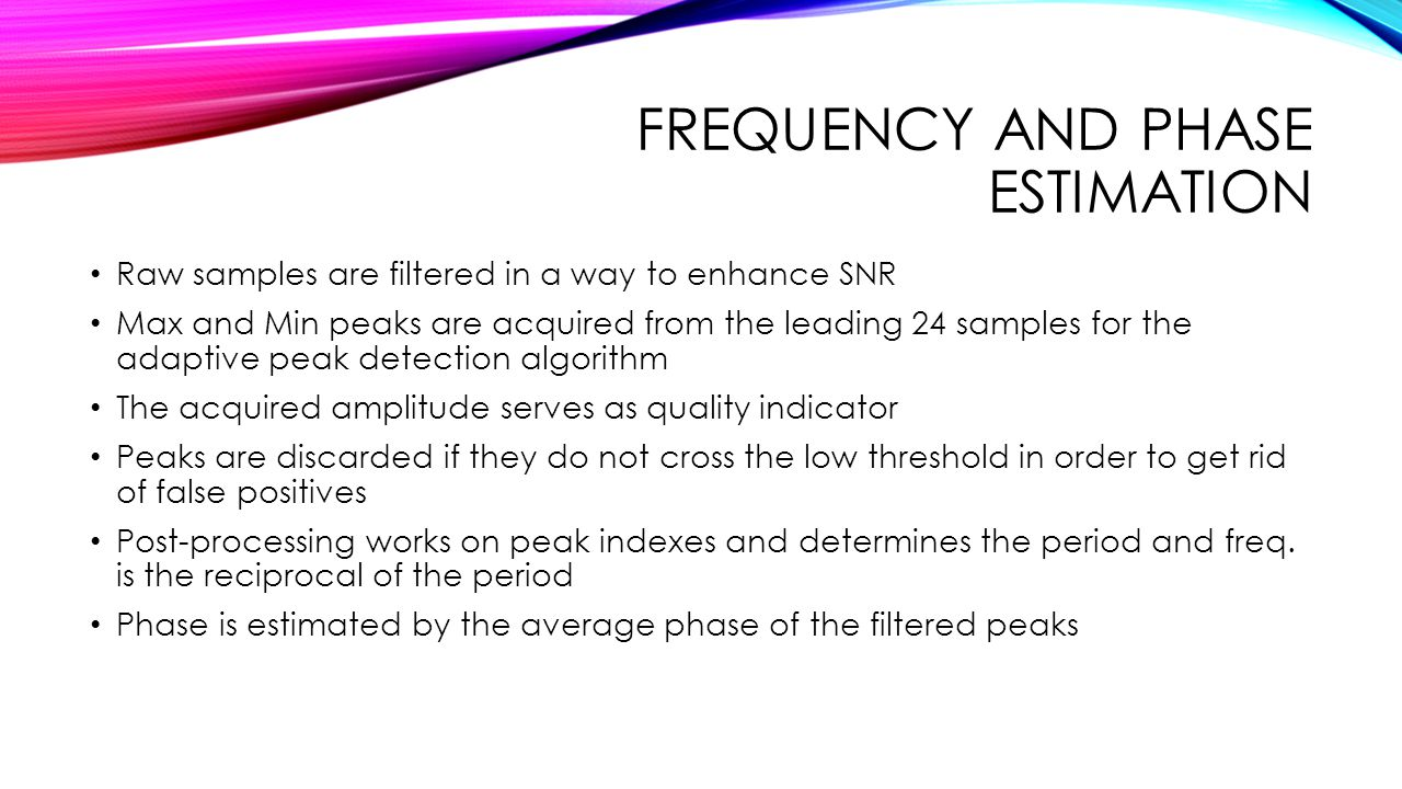Frequency and phase estimation