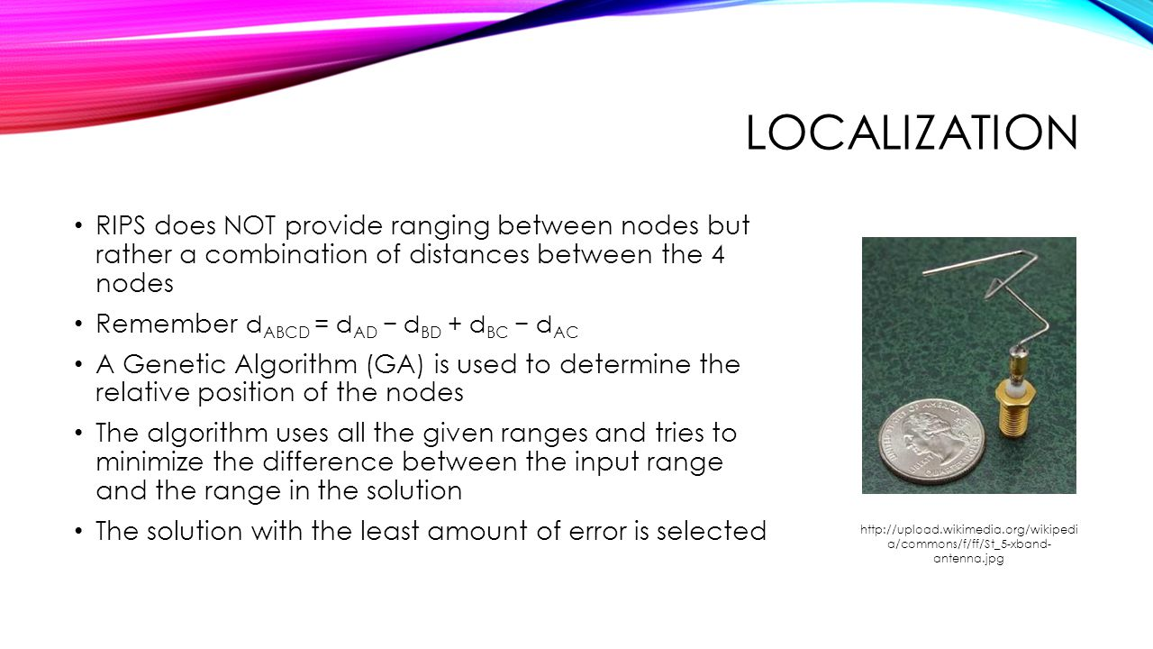 Localization RIPS does NOT provide ranging between nodes but rather a combination of distances between the 4 nodes.