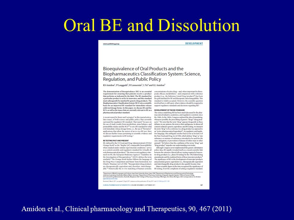 Oral BE and Dissolution