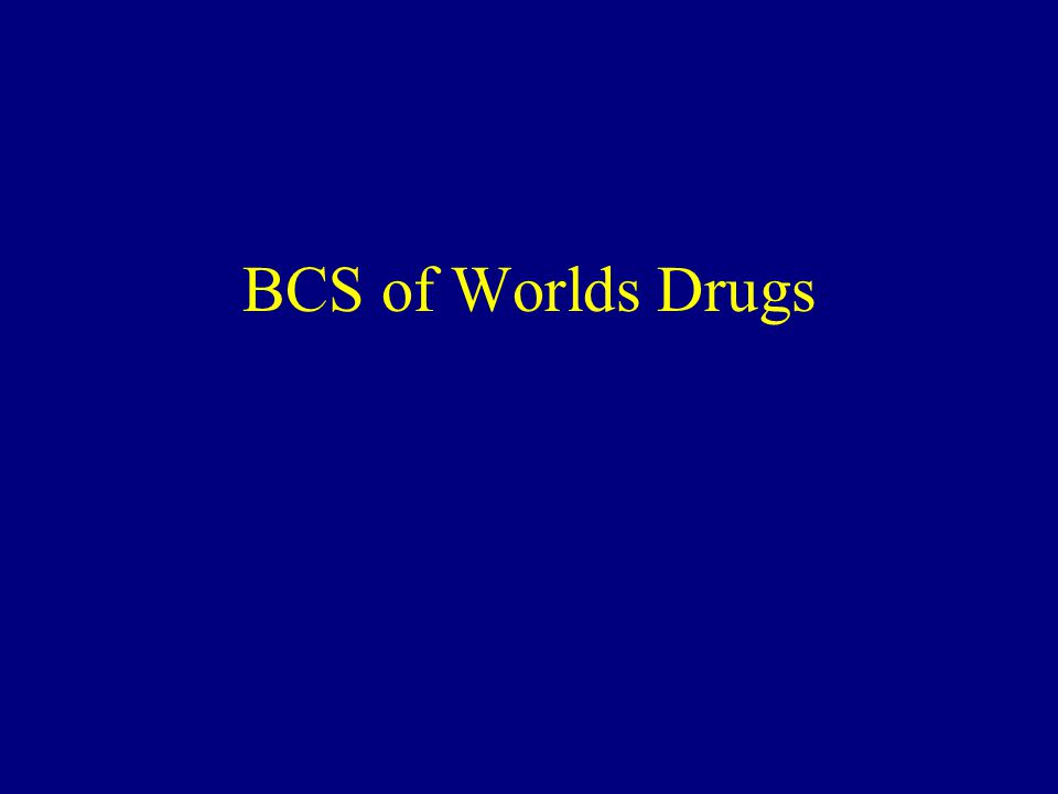 BCS of Worlds Drugs