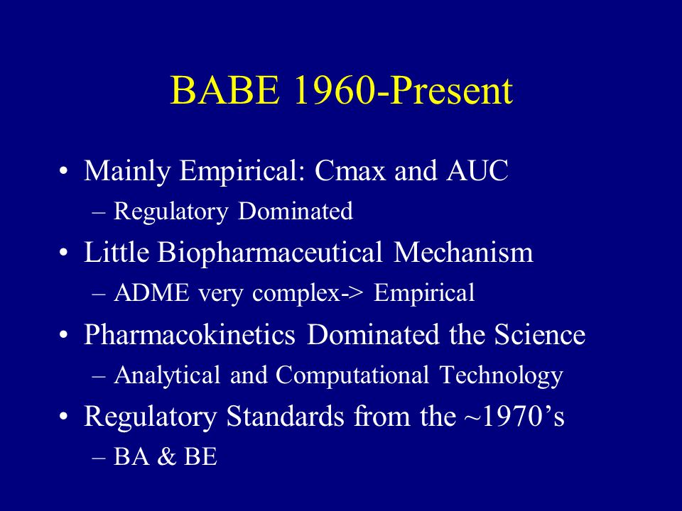BABE 1960-Present Mainly Empirical: Cmax and AUC