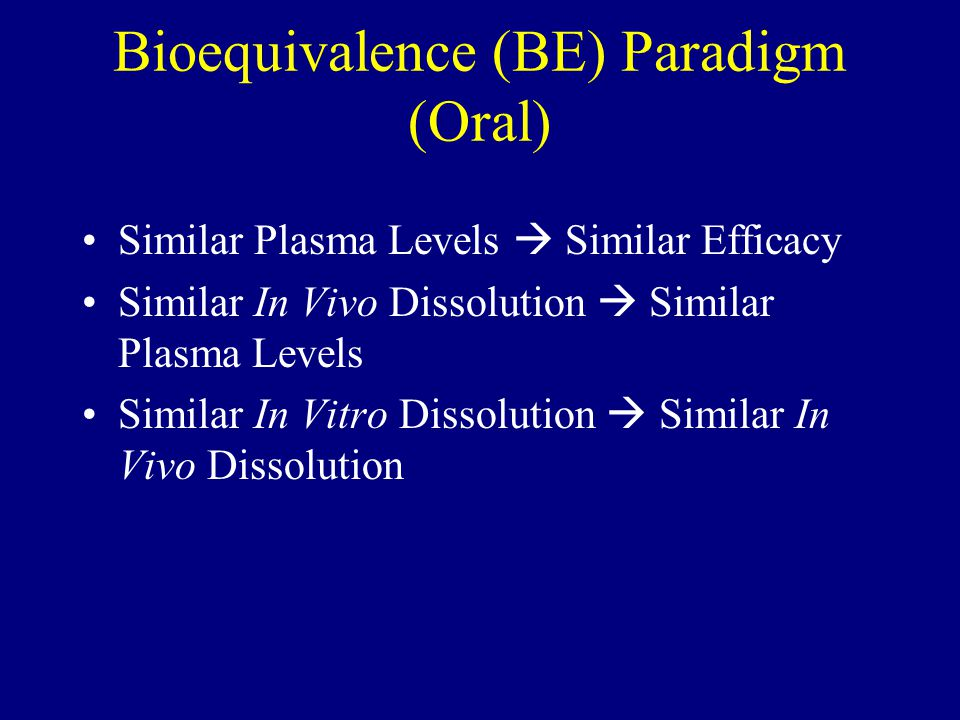 Bioequivalence (BE) Paradigm (Oral)