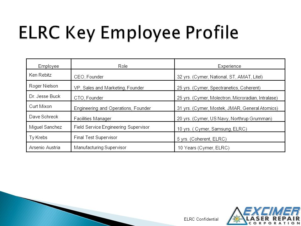 ELRC Key Employee Profile
