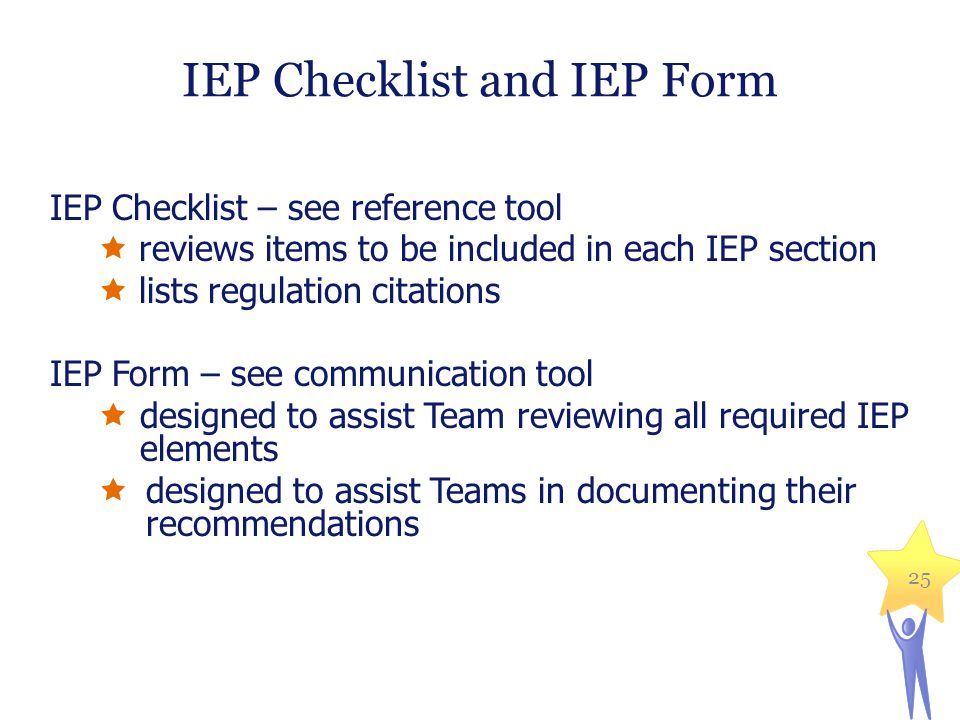 IEP Checklist and IEP Form