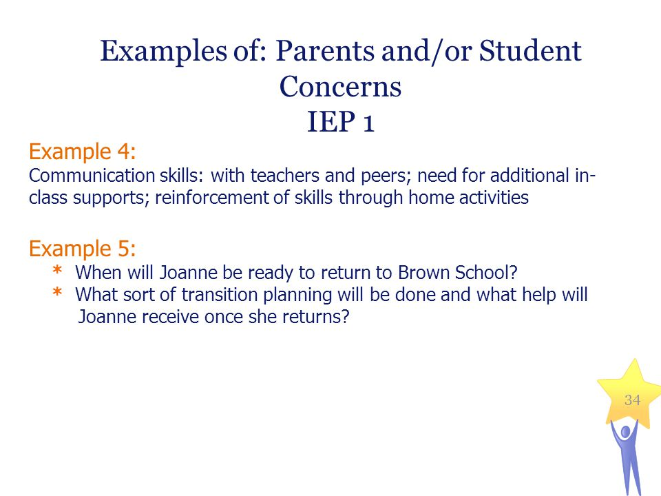 Examples of: Parents and/or Student Concerns