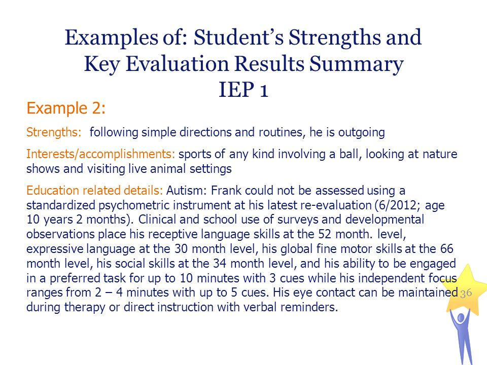Examples of: Student's Strengths and Key Evaluation Results Summary
