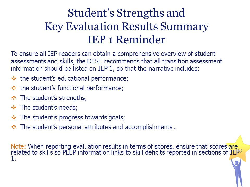 Student's Strengths and Key Evaluation Results Summary IEP 1 Reminder