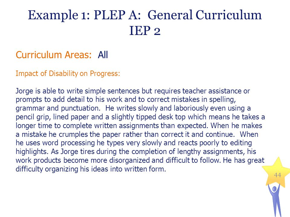 Example 1: PLEP A: General Curriculum