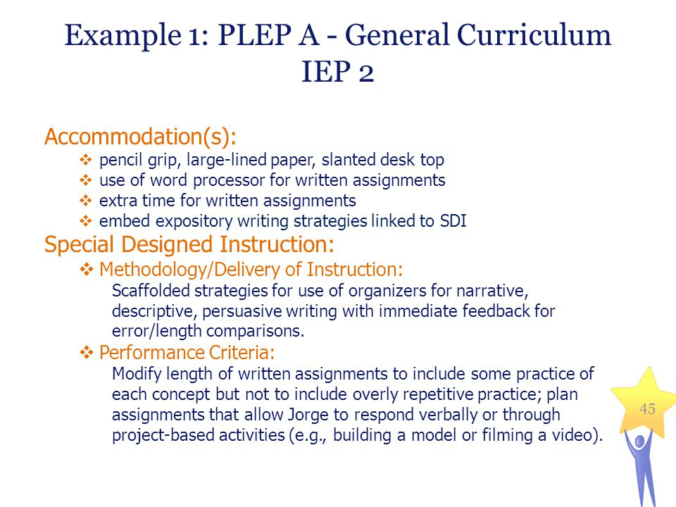 Example 1: PLEP A - General Curriculum