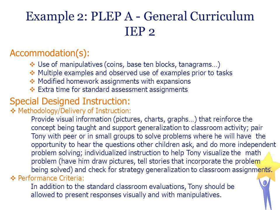Example 2: PLEP A - General Curriculum