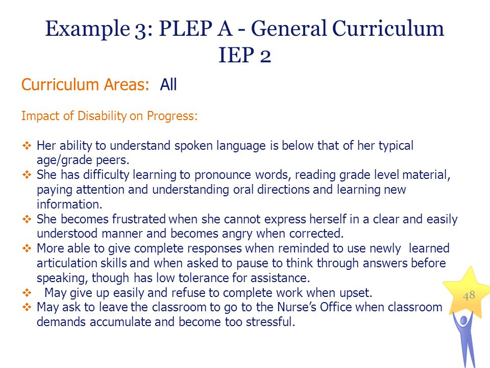 Example 3: PLEP A - General Curriculum