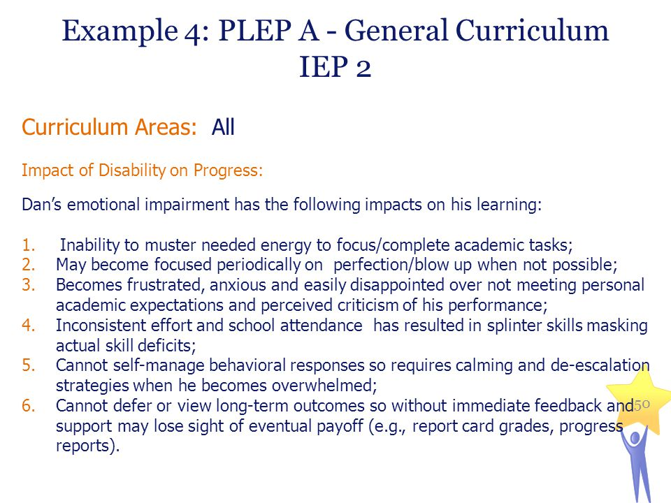 Example 4: PLEP A - General Curriculum