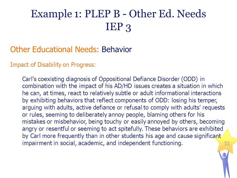 Example 1: PLEP B - Other Ed. Needs
