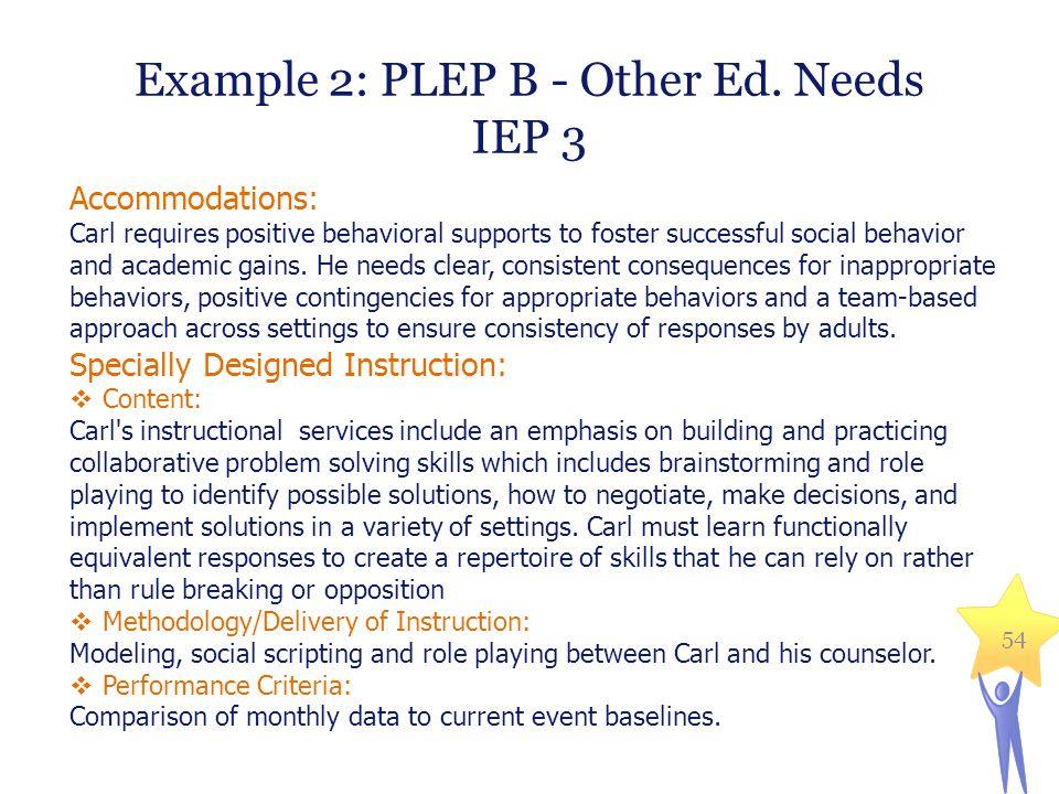 Example 2: PLEP B - Other Ed. Needs