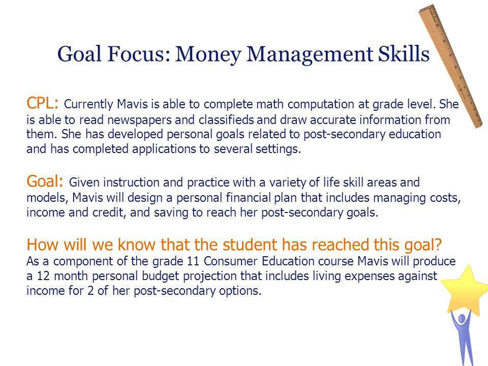 Goal Focus: Money Management Skills