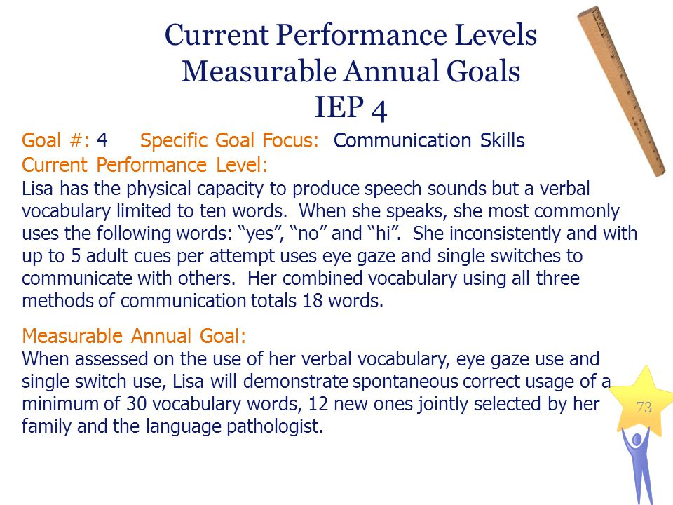 Current Performance Levels Measurable Annual Goals IEP 4