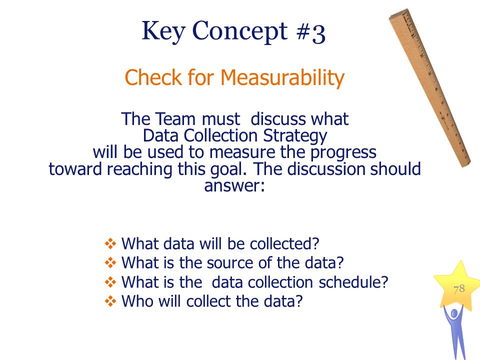 Key Concept #3 Check for Measurability The Team must discuss what