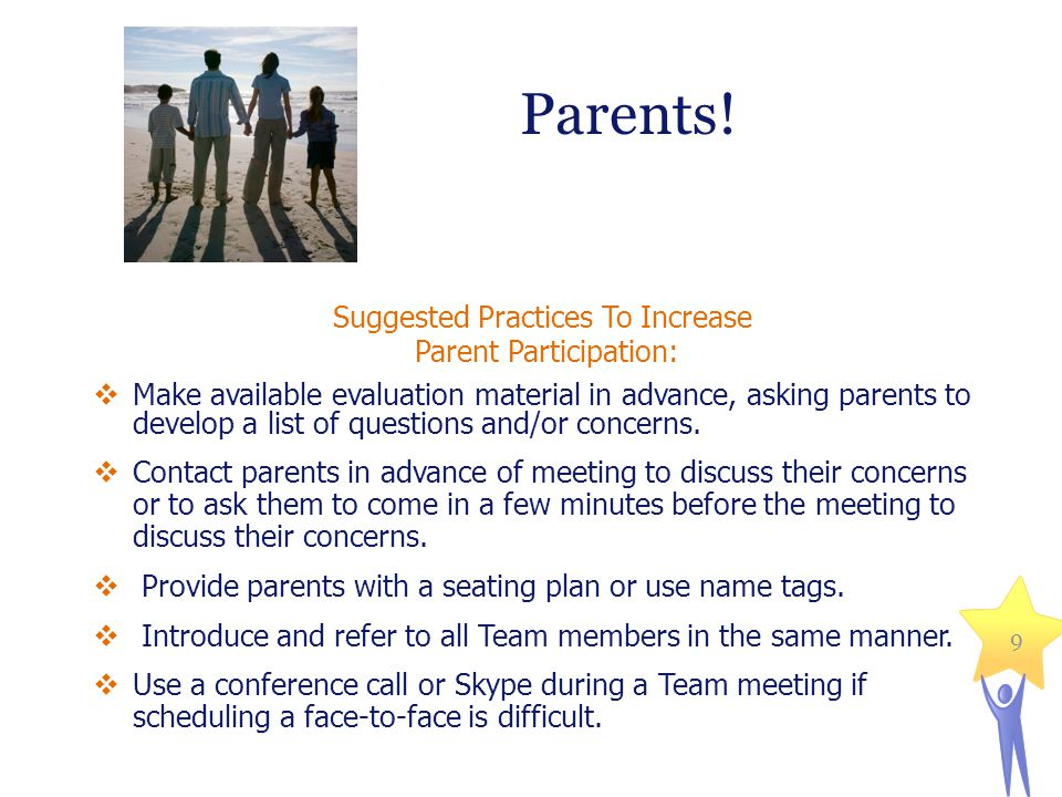Parents! Suggested Practices To Increase Parent Participation: