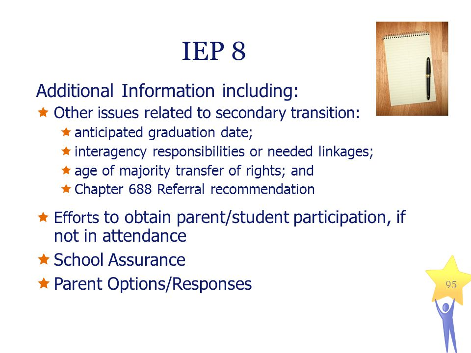 IEP 8 Additional Information including: School Assurance