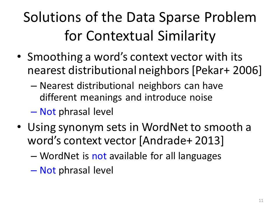 Solutions of the Data Sparse Problem for Contextual Similarity