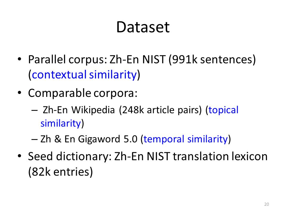 Dataset Parallel corpus: Zh-En NIST (991k sentences) (contextual similarity) Comparable corpora: