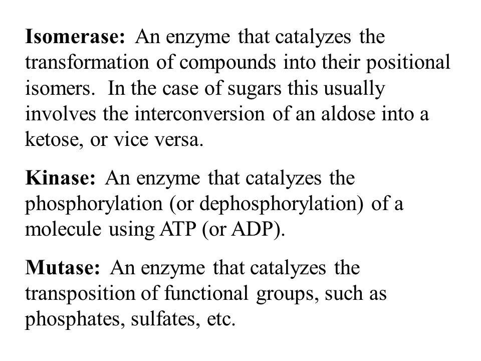Isomerase: An enzyme that catalyzes the transformation of compounds into their positional isomers. In the case of sugars this usually involves the interconversion of an aldose into a ketose, or vice versa.