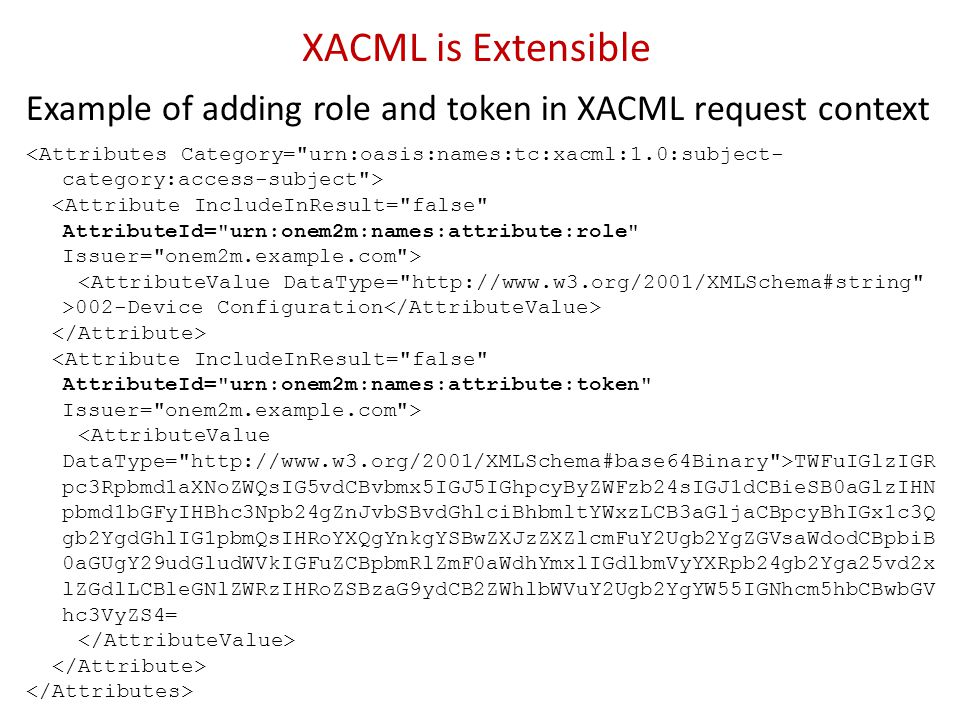 XACML is Extensible Example of adding role and token in XACML request context.