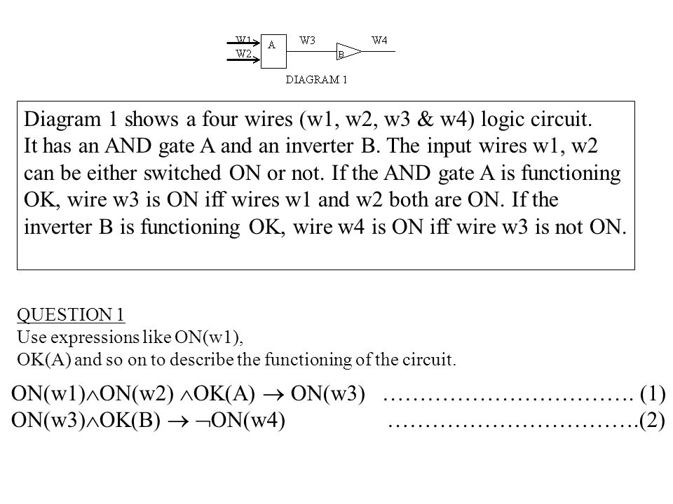 Diagram 1 shows a four wires (w1, w2, w3 & w4) logic circuit. - ppt ...