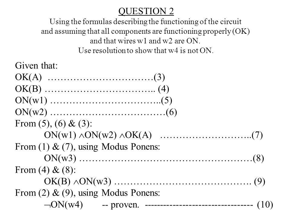 ON(w1) ON(w2) OK(A) ………………………..(7)