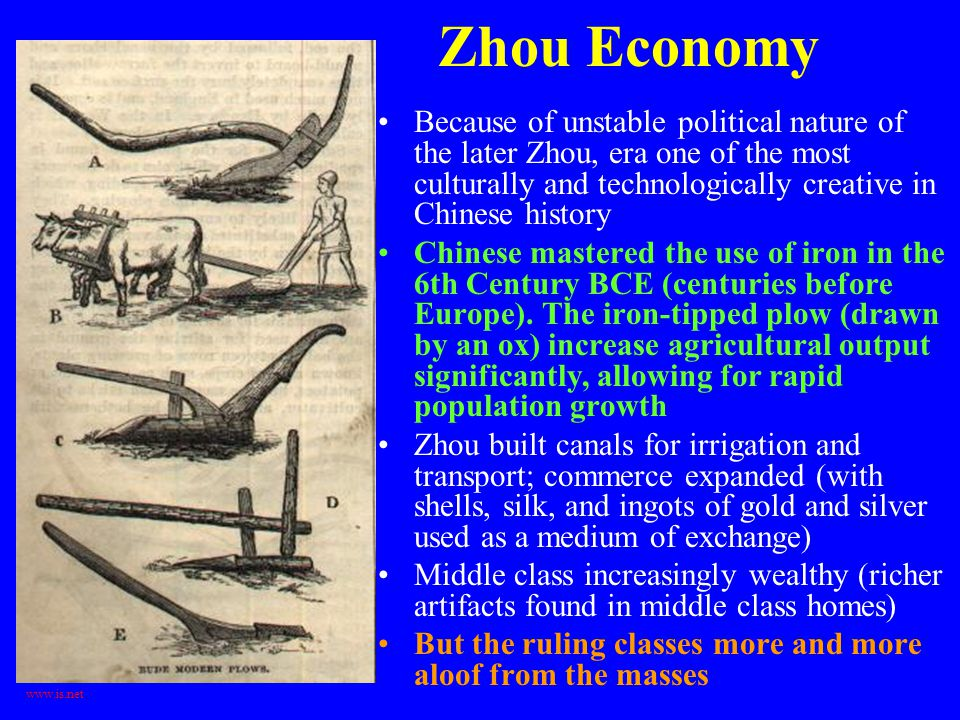 Zhou Economy Because of unstable political nature of the later Zhou, era one of the most culturally and technologically creative in Chinese history.